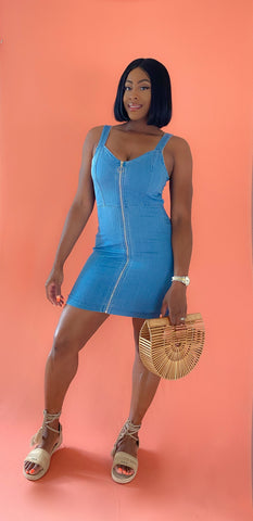 Denim Zipper Dress - Aundrea Love Boutique