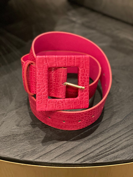 Oversized Square Buckle Faux Leather Belt - Aundrea Love Boutique