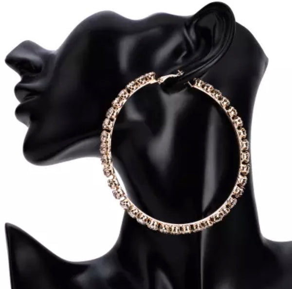 Large Crystal Hoops - Aundrea Love Boutique