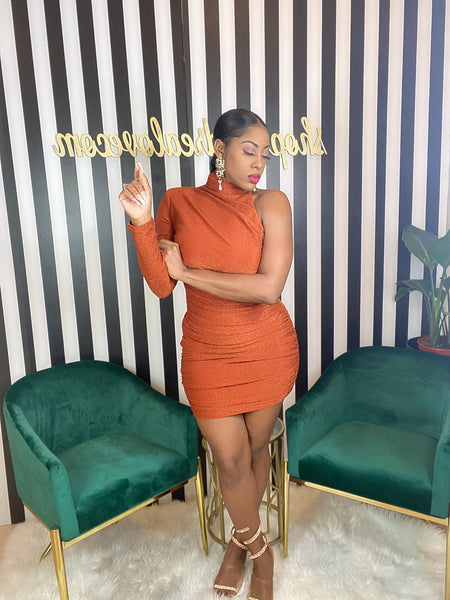 Rust One Shoulder Dress - Aundrea Love Collection
