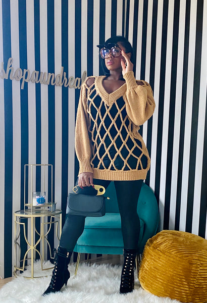 All Caged Up Sweater - Camel - Aundrea Love Collection