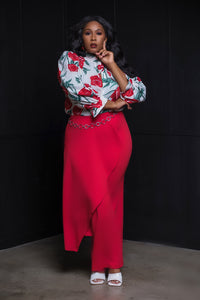Rose Print Puff Sleeve Blouse - Aundrea Love Collection