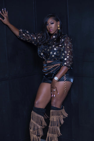 Black Metallic Shorts - Aundrea Love Collection