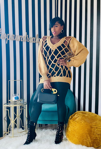 All Caged Up Sweater - Camel - Aundrea Love Boutique