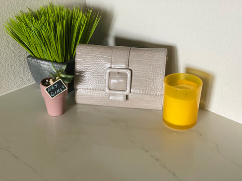 Gray Snakeskin Buckled Clutch - Aundrea Love Boutique