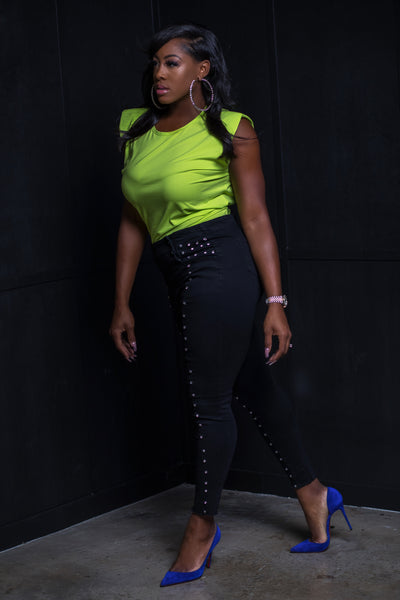Black High Waist Studded Jeans - Aundrea Love Collection