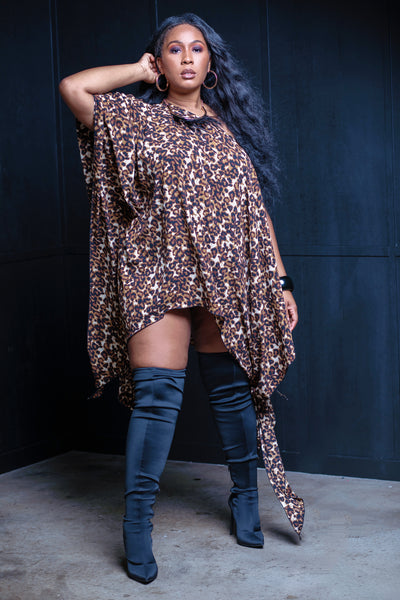 Leopard Print Freestyle Poncho - Aundrea Love Collection