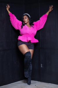 Pink Wrap Top - Aundrea Love Collection