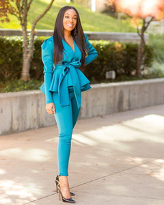 Teal Ruffle 2pc Set - Aundrea Love Boutique