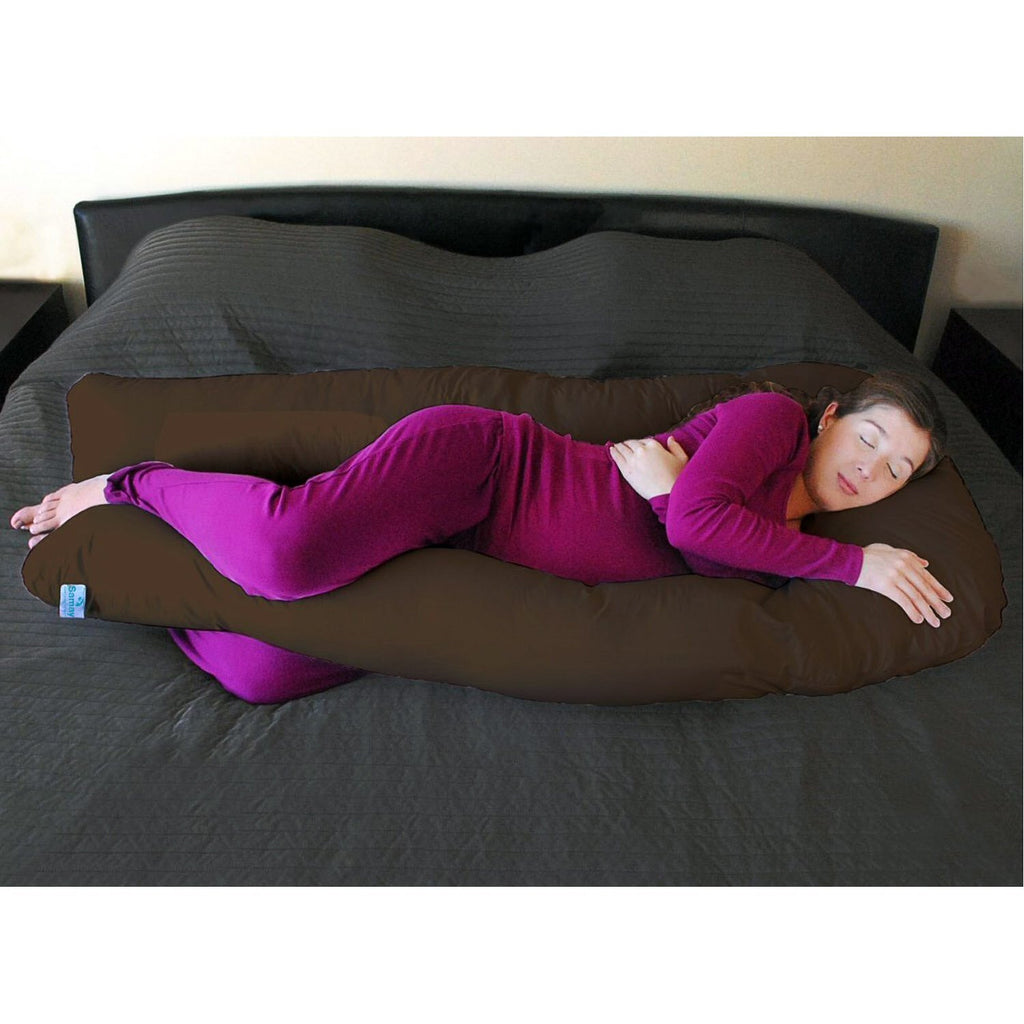 Body Pillow U-Shaped Extra Light Full Body Maternity Pillow Brown