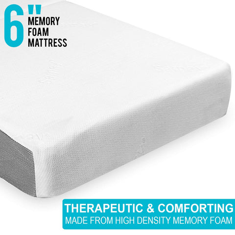 SAMAY - 6 Inch Tri Folding Foam Mattress - Includes Waterproof Mattress Protector and Washable Cover