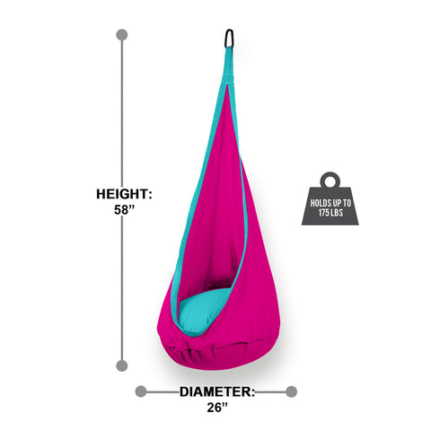 Hanging Hammock Pod Swing Chair For Kids Premium - Hot Pink