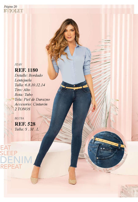 1180DARKBLUE 100% Authentic Colombian Push Up Jeans by B'violet - JDColFashion