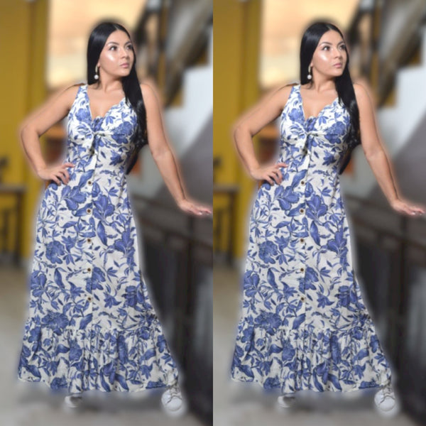 20035-B 100% Authentic Colombian Dress Blue Flowers - JDColFashion.com