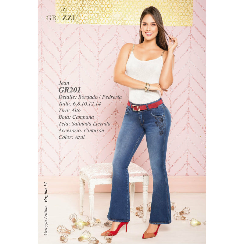 GR201 by Grazzia Jeans 100% Authentic Colombian Push Up Jean - 2 button - JDColFashion.com