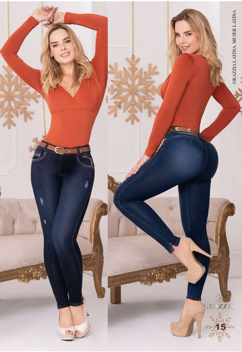 GR241 100% Authentic Colombian Push Up Jeans by GRAZZIA - JDColFashion