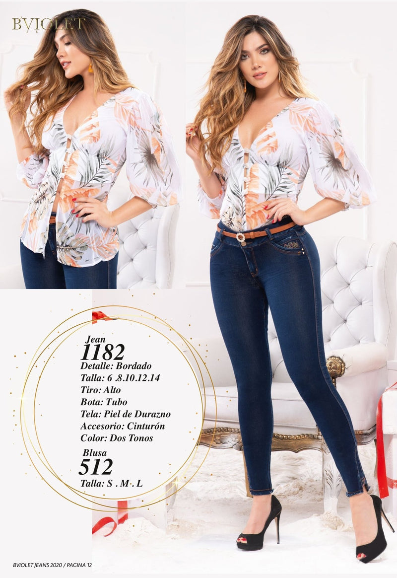 PRE-ORDER 1182 100% Authentic Colombian Push Up Jeans by B'violet - JDColFashion