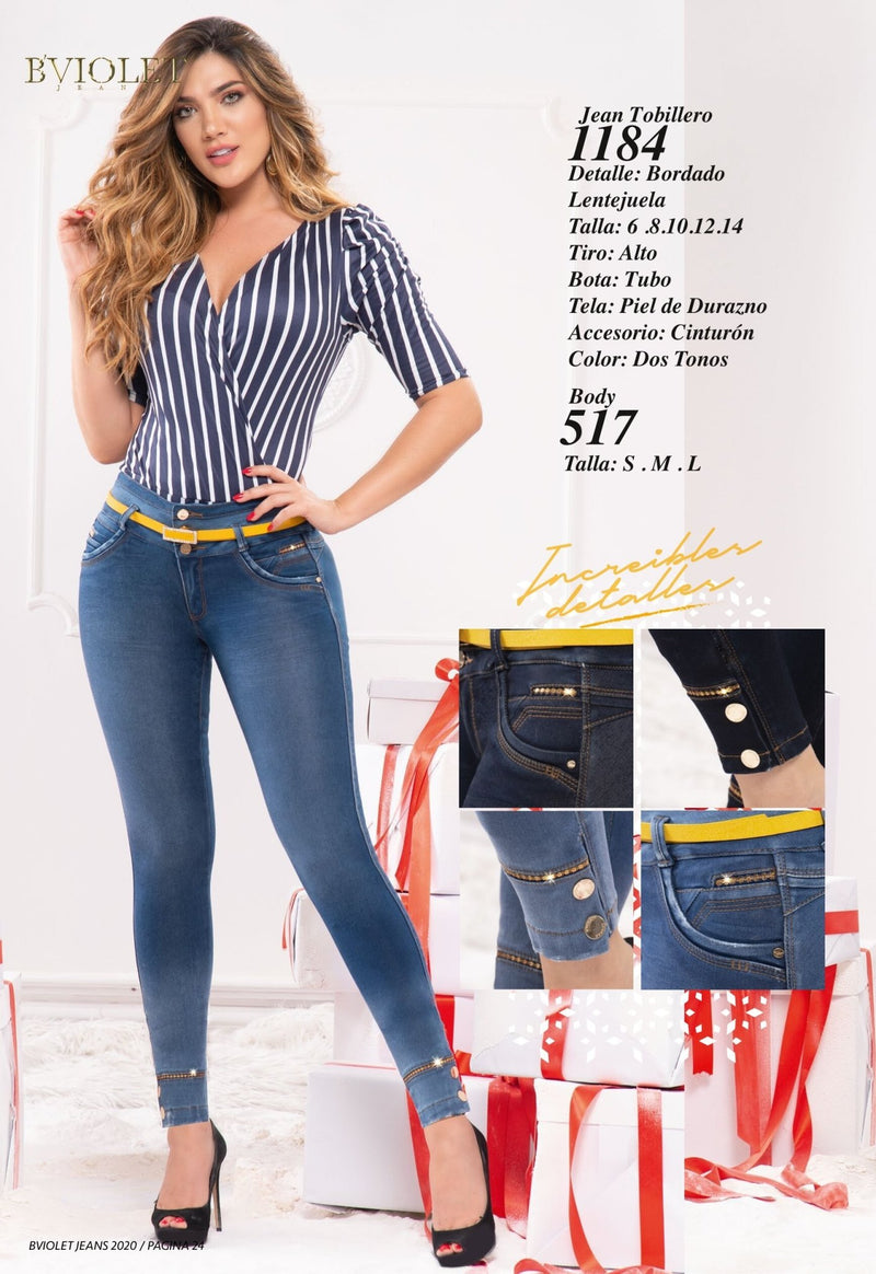 PRE-ORDER 1184 100% Authentic Colombian Push Up Jeans by B'violet - JDColFashion