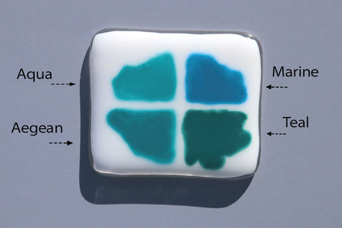 Comparison of blue green Glassline Colors