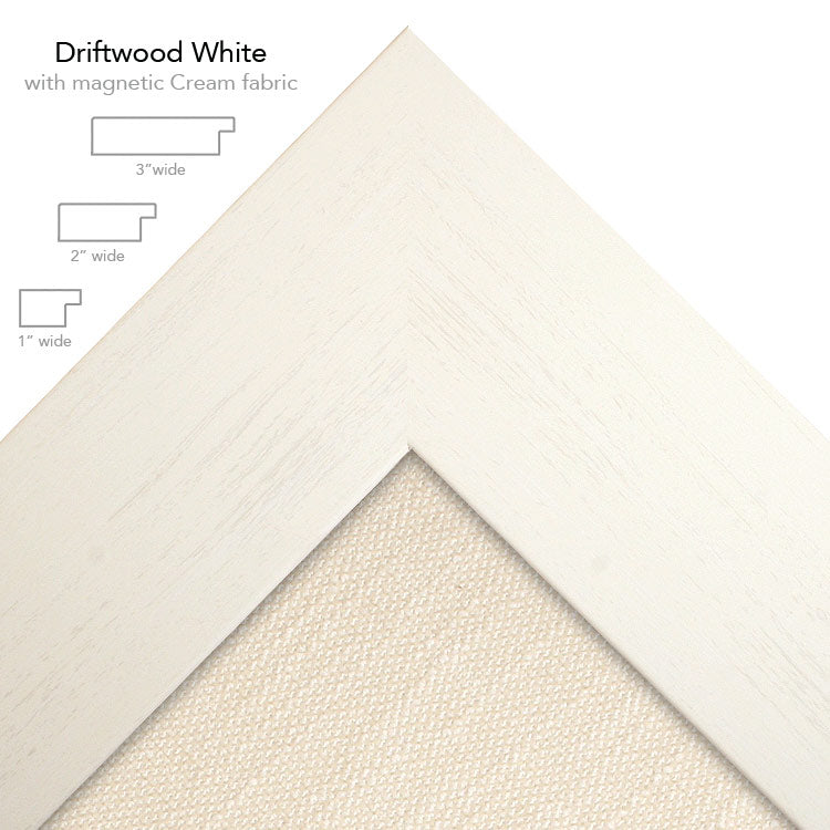 magnetic bulletin board driftwood white + cream