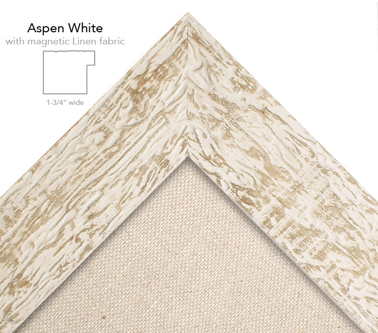 magnetic bulletin board aspen white + linen
