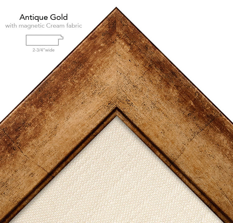 magnetic bulletin board gold + cream