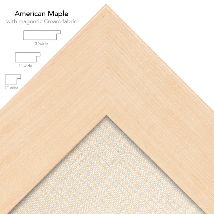 magnetic bulletin board maple + cream