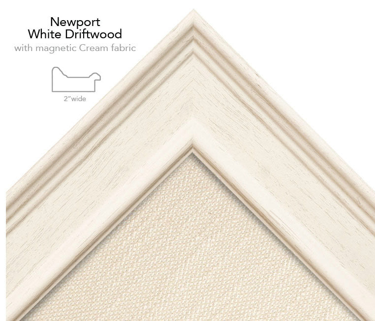 magnetic bulletin board newport white + cream