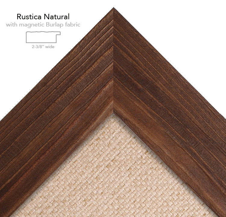 magnetic bulletin board rustica natural + burlap