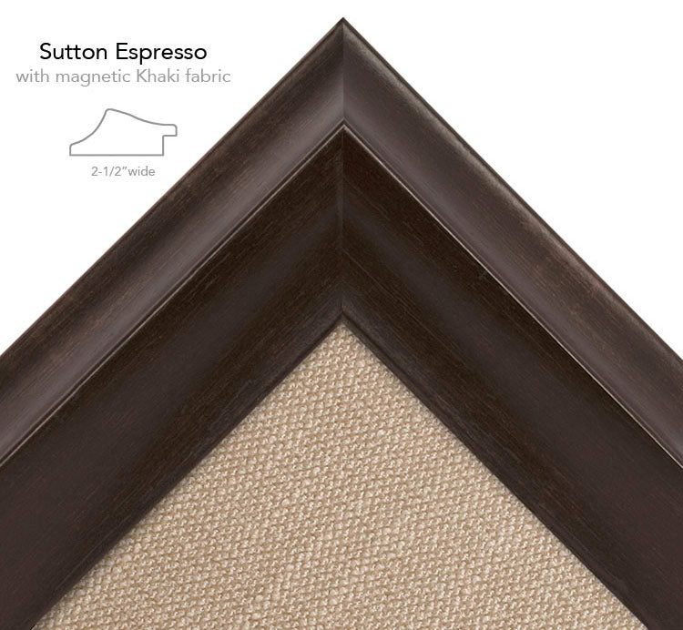 magnetic bulletin board sutton espresso + khaki