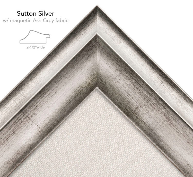 magnetic bulletin board sutton silver + ash