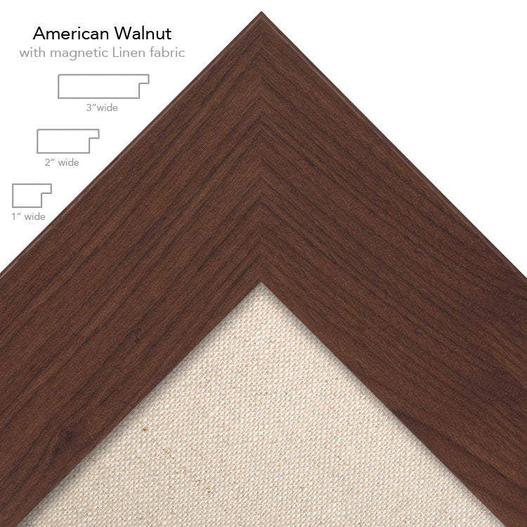 magnetic bulletin board walnut + linen