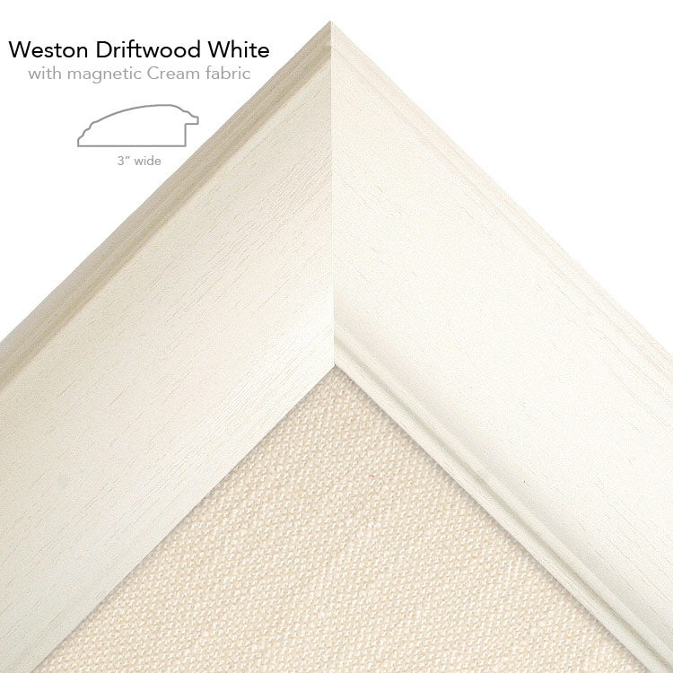 magnetic bulletin board weston white + cream