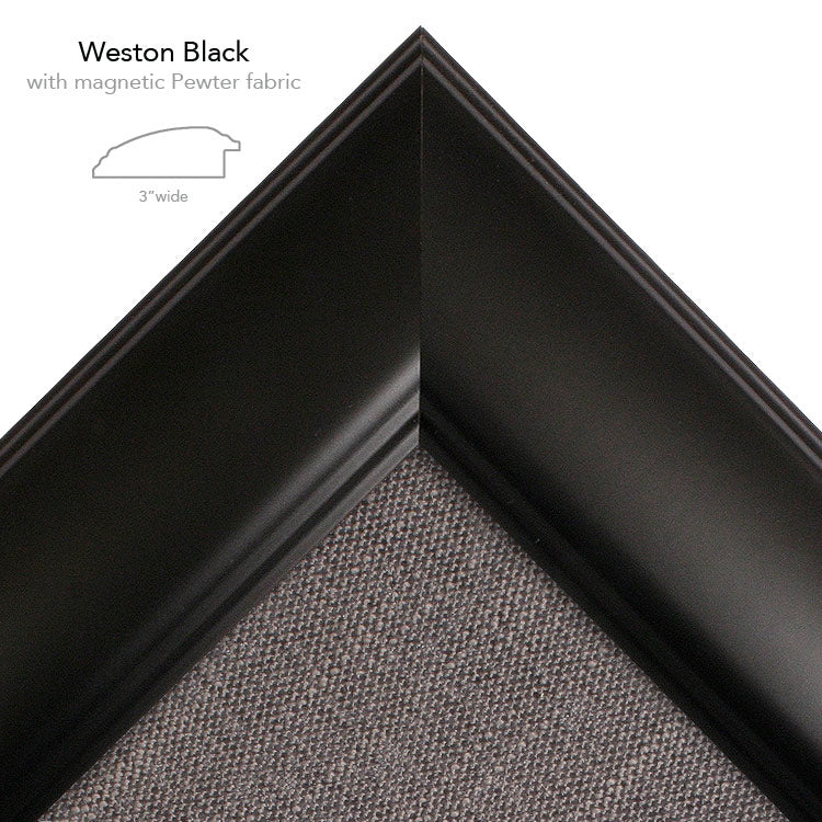 magnetic bulletin board weston black + pewter