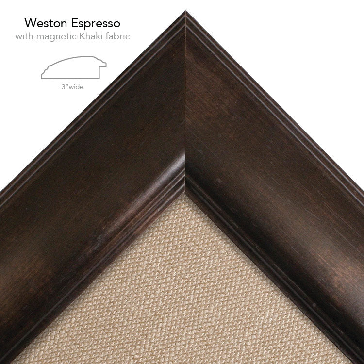 magnetic bulletin board weston espresso + khaki