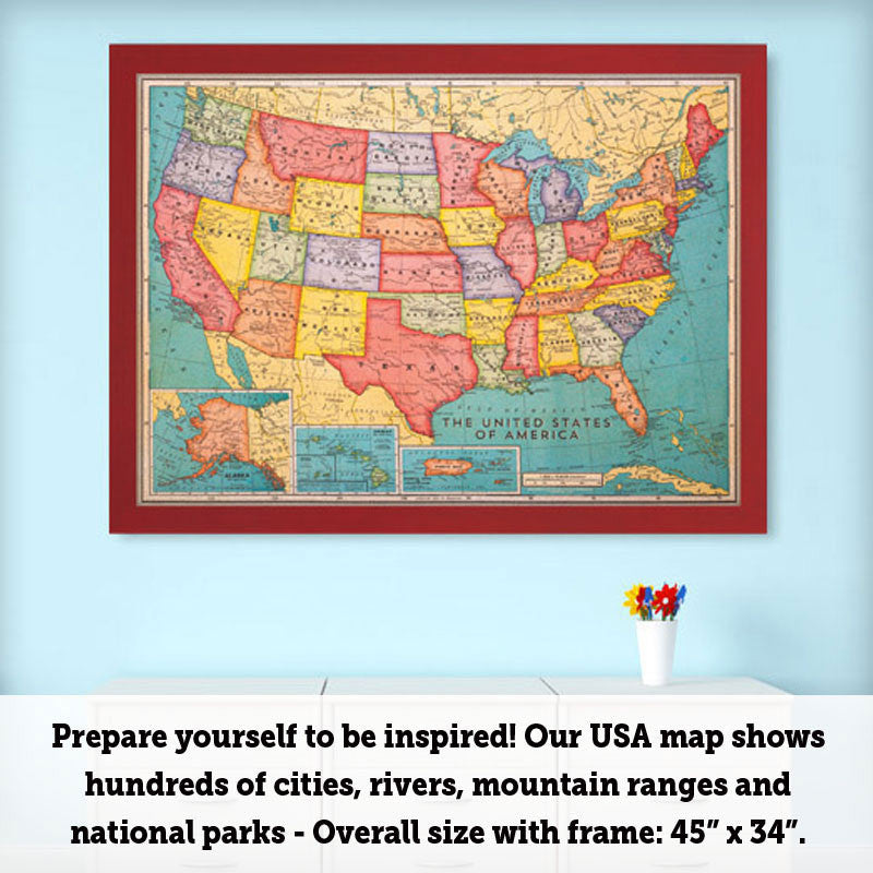 United States Map Picture Frame.46 X 34 Cork Board Us Map Us Travel Map With Pins Corkboard Com