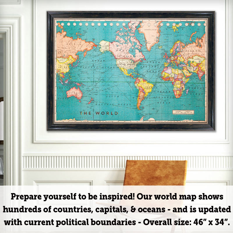 Cork board world map world map bulletin board corkboard additional images gumiabroncs Choice Image