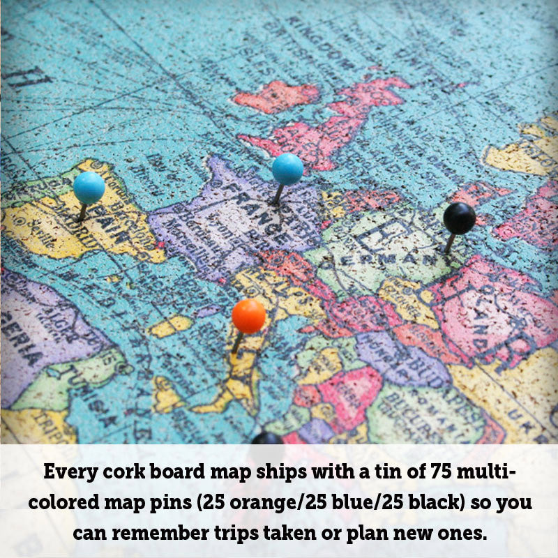 Cork board world map world map bulletin board corkboard click to enlarge gumiabroncs Images