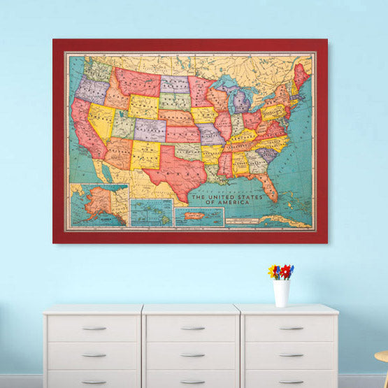Cork board maps us world maps printed on cork corkboard usa cork board map gumiabroncs Images