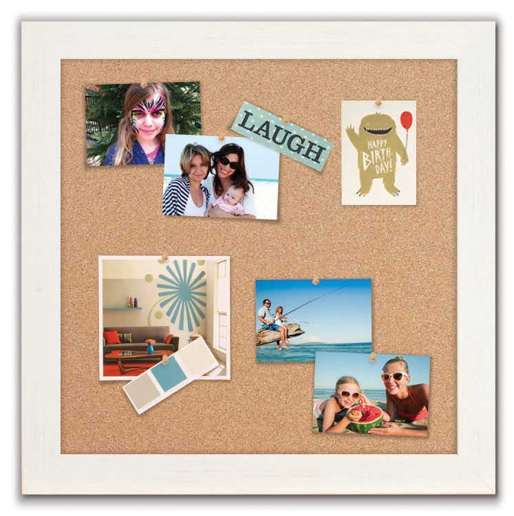 """Cork Boards 24"""" x 24"""" - Driftwood White Frame with Natural Cork Surface"""