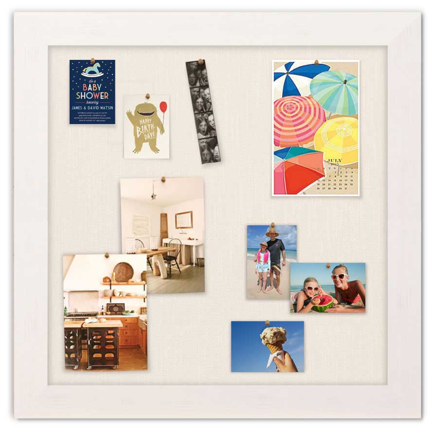"""Bulletin Boards 36"""" x 36"""" - Driftwood White Frame with Cream Fabric Surface"""
