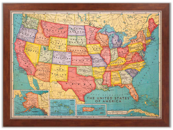 Inited States Map.46 X 34 Cork Board Us Map Us Travel Map With Pins Corkboard Com