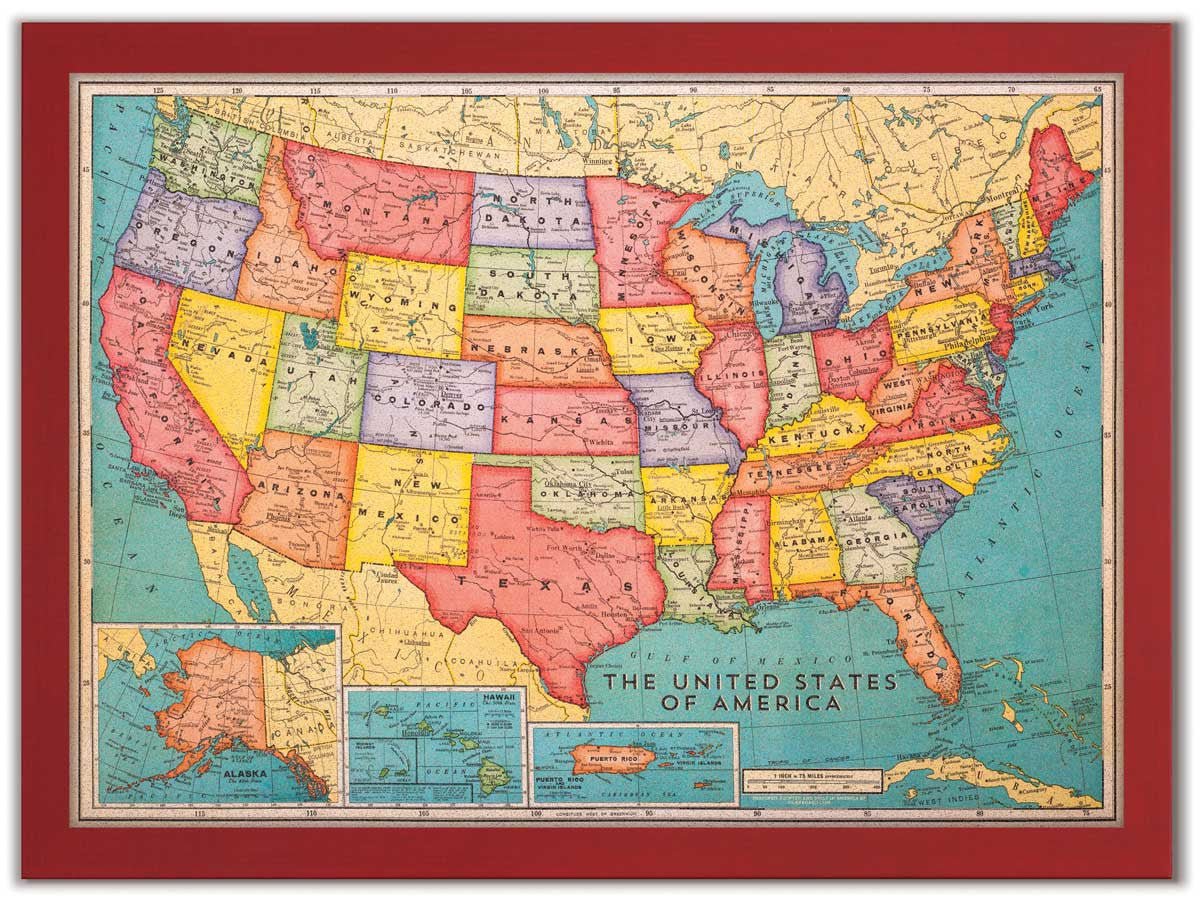 46 x 34 Cork Board US Map US Travel Map With Pins Corkboardcom