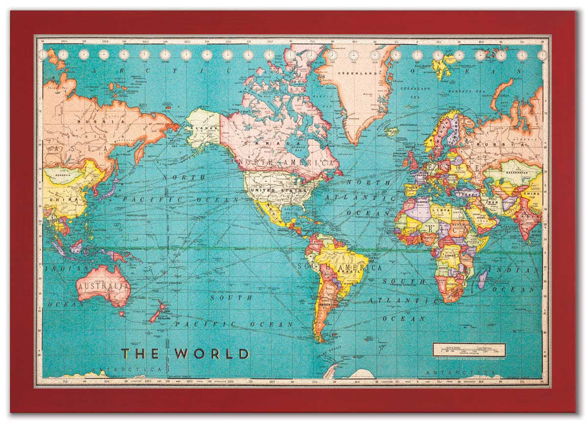 Board World Map – Cork Board World Travel Map