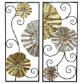 2 Piece Metallic Fanned Flower Panel Wall Décor Set