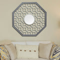 Octagon Fretwork Wood Wall Mirror