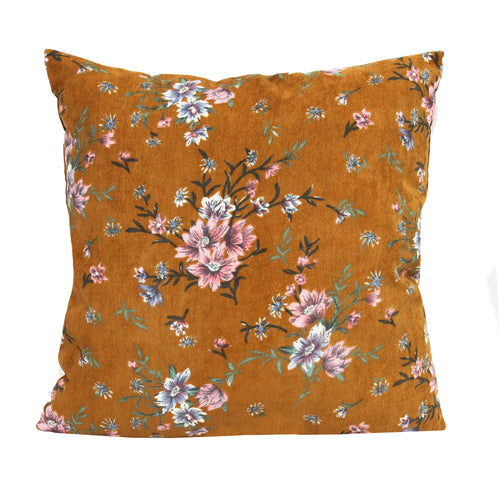 Stratton Home Decor Mustard Floral Corduroy Pillow