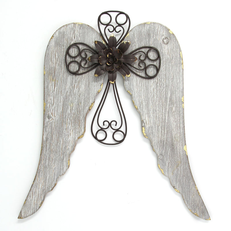 Stratton Home Decor Angel Wings with Cross Wall Decor