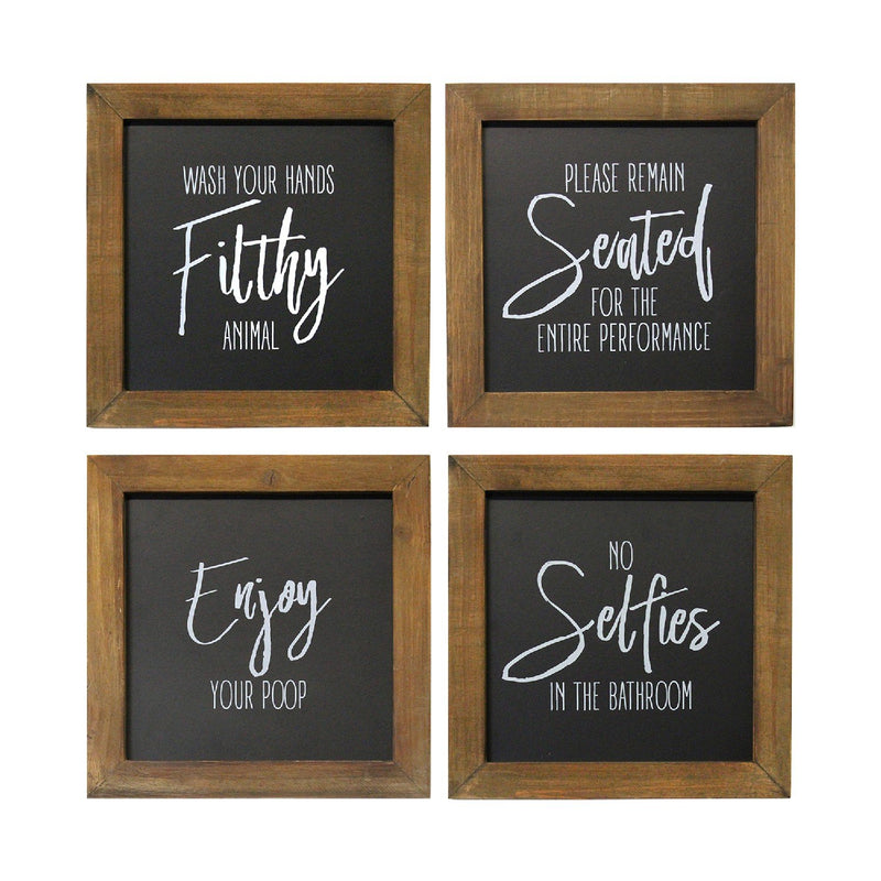 Stratton Home Decor Set of 4 Black and White Bathroom Rules Wall Art