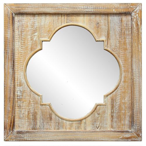 Distressed Wood Quatrefoil Wall Mirror